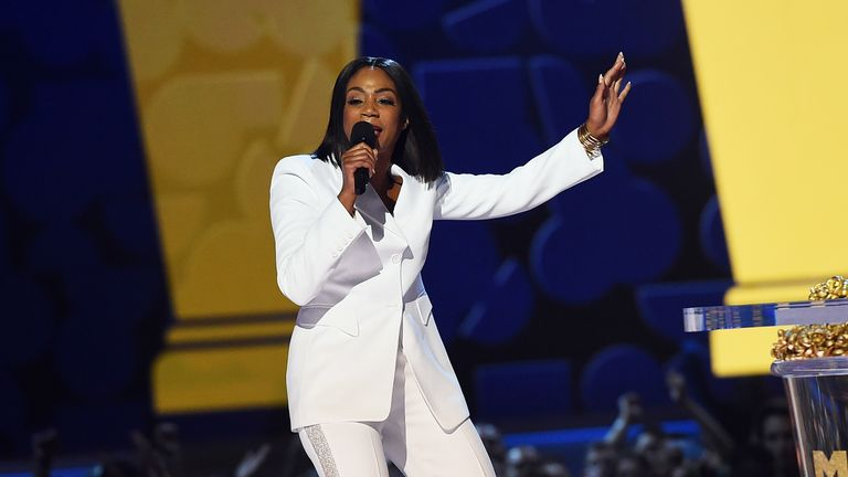 Host Tiffany Haddish speaks onstage during the 2018 MTV Movie And TV Awards
