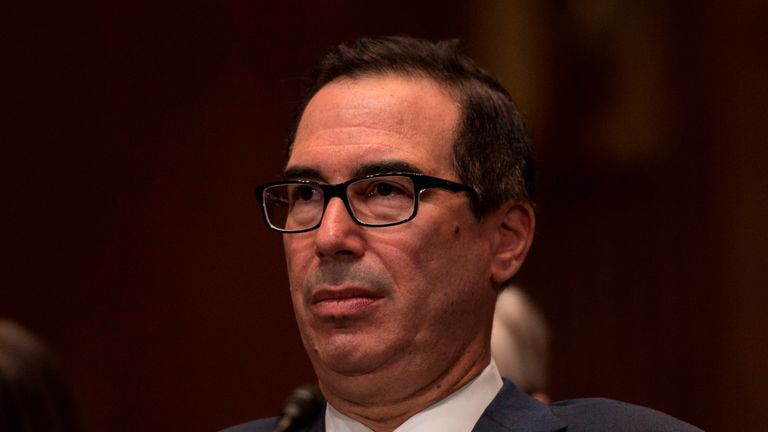US Treasury Secretary Steven Mnuchin testifies before a Senate Appropriations Committee for Financial Services hearing on the proposed FY2019 budget for the Treasury Department in Washington, DC on May 22, 2018. (Photo by Andrew CABALLERO-REYNOLDS / AFP) (Photo credit should read ANDREW CABALLERO-REYNOLDS/AFP/Getty Images)