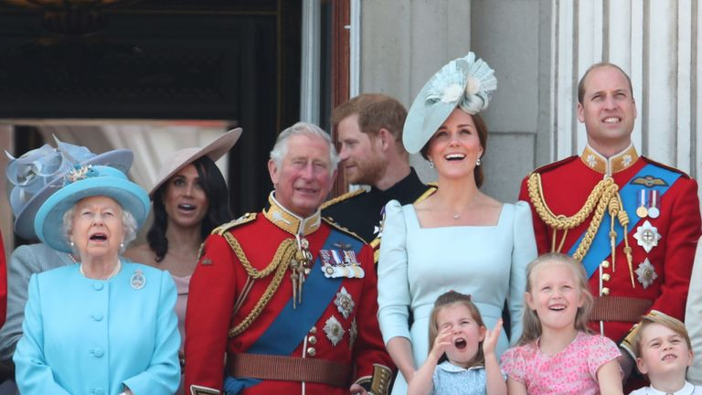 The royals gasp at the flypast