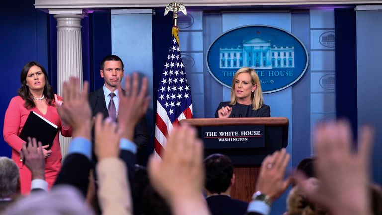 Homeland Security Secretary Kirstjen Nielsen has said there is no policy of separating families