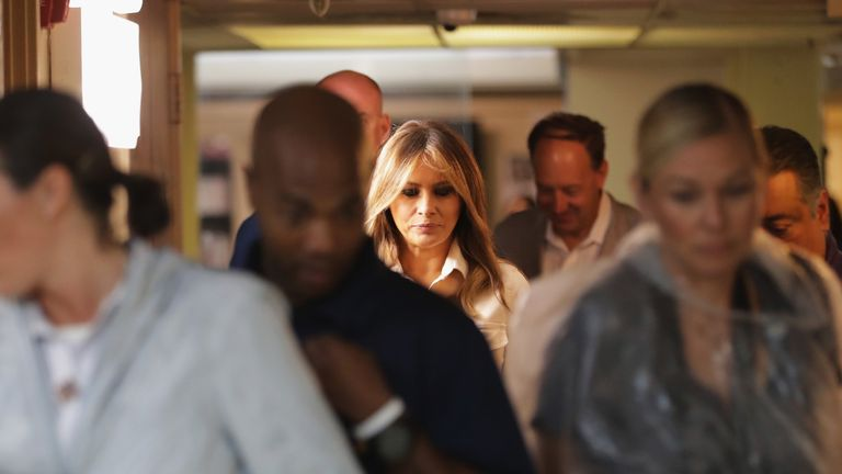 Melania Trump met officials at the detention centres
