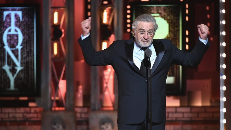 "Robert De Niro says ""F*** Trump"" onstage during the 72nd Annual Tony Awards at Radio City Music Hall on June 10, 2018 in New York City."