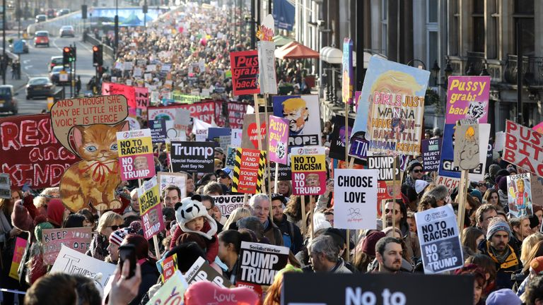 The Women's March in London featured anti-Trump slogans