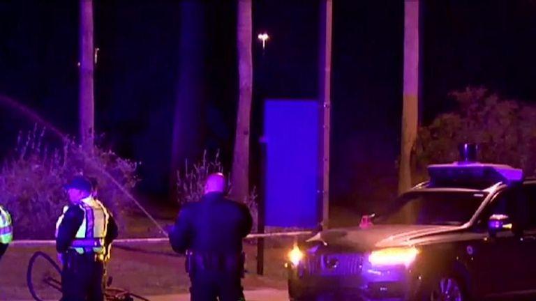 Police at the crash scene in Arizona