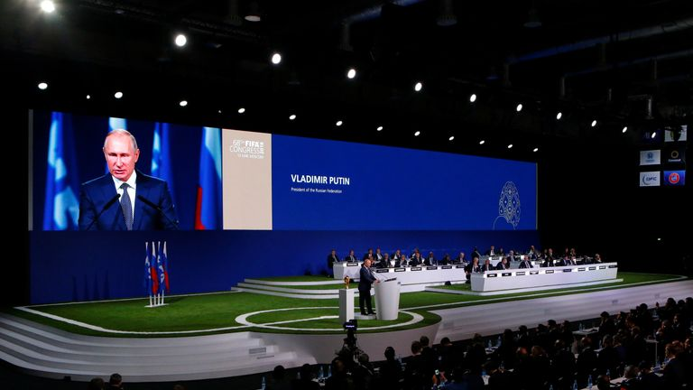 Vladimir Putin addressed the FIFA Congress in Moscow before the result was announced