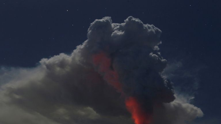 Mount Agung volcano erupts during the night, as seen from Datah village, Karangasem Regency in Bali, Indonesia on June 29, 2018. REUTERS/Johannes P. Christo TPX IMAGES OF THE DAY