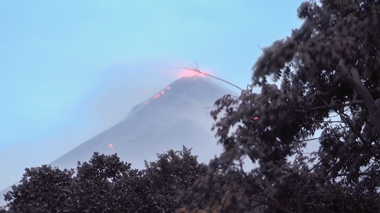 The Fuego Volcano in eruption, seen from Los Lotes, Rodeo