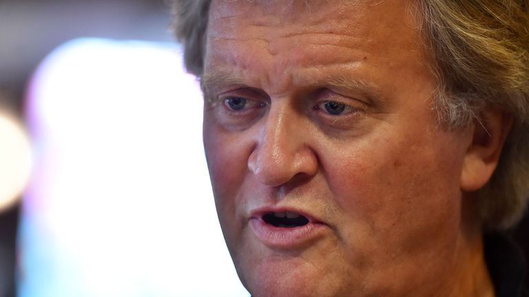 Chairman of Wetherspoons pub chain, Tim Martin is seen during an interview in London on June 14, 2016. At popular British pub chain Wetherspoon, the EU referendum debate is hard to avoid -- it's in the magazine given out to customers, on the company website and even on special anti-EU beer mats. / AFP / BEN STANSALL / TO GO WITH AFP STORY BY DARIO THUBURN (Photo credit should read BEN STANSALL/AFP/Getty Images)