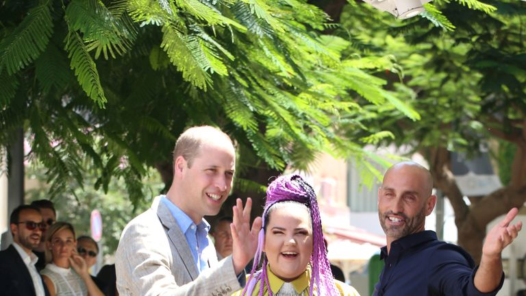 Prince William meets the 2018 Eurovision winner Netta Barzilai during a visit to Tel Aviv, Israel, June 27, 2018. Ian Vogler/Pool via Reuters