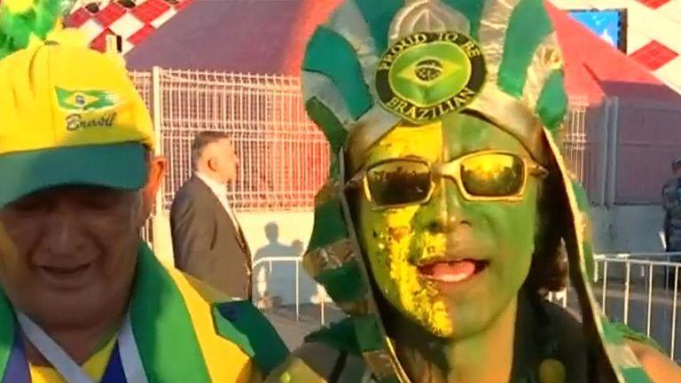 Brazil fans celebrate Germany's exit