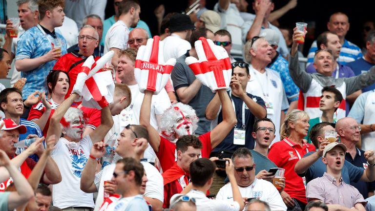 England fans at the stadium in Nizhny Novgorod, where the team played Panama