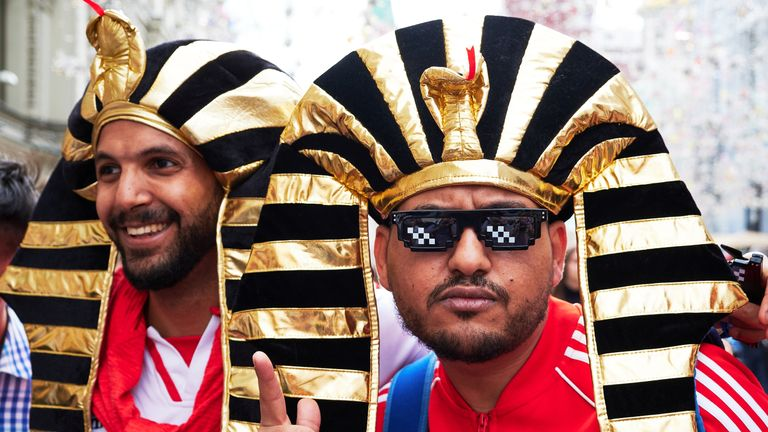 Peruvian fans in party mood near Red Square in Moscow