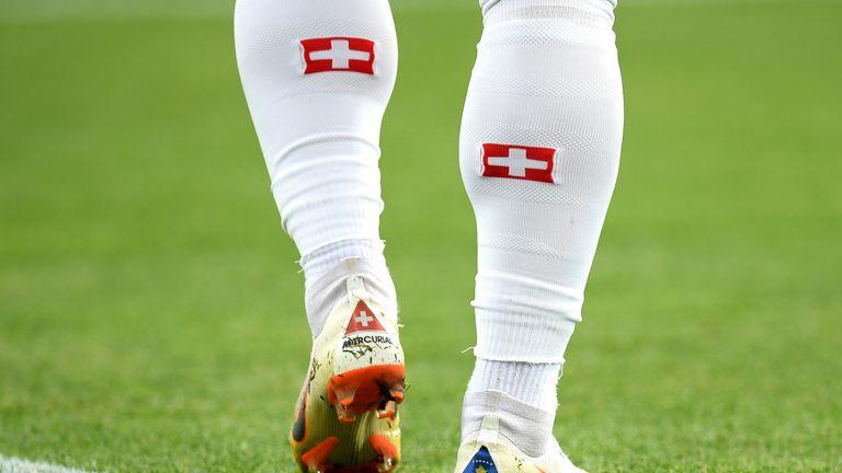 Kosovo flag on one of Xherdan Shaqiri's boots
