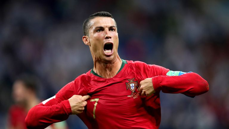 75c0463c6 Cristiano Ronaldo celebrates scoring his side  39 s third goal of the game  and
