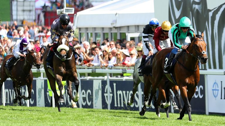 Century Dream wins the Investec Diomed Stakes at Epsom