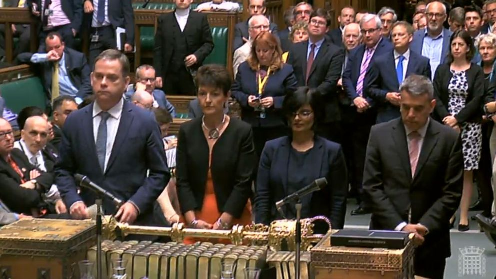 MPs line up to announce the result of a vote on the EU Withdrawal Bill