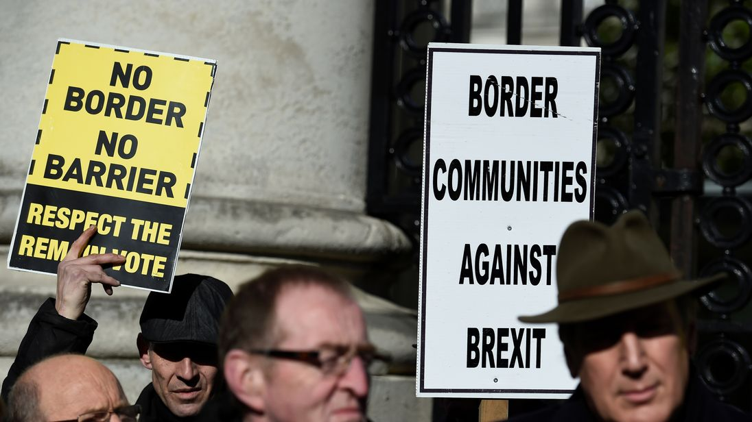 Anti-Brexit campaigners are rallying against a hard border