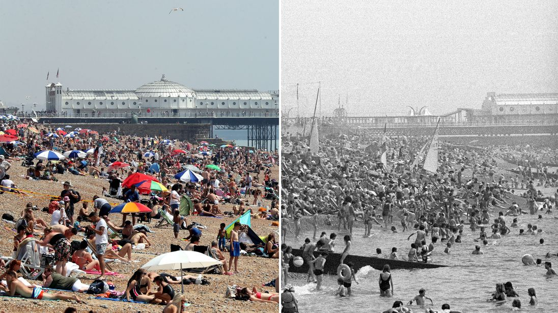 People enjoying the heat in Brighton in 2018 and in 1976