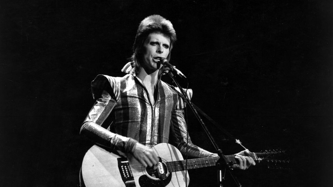 David Bowie performing as Ziggy Stardust in 1973