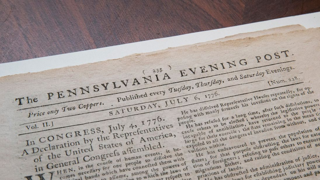 NEW YORK, NY - JUNE 25: The first known newspaper printing of the Declaration of Independence, printed on July 6, 1776 in The Pennsylvania Evening Post, is seen after being auctioned at Robert A. Siegel Galleries on June 25, 2013 in New York City. The pages sold for $632,500 to David Rubenstein; according to Robert A. Siegal Galleries it is the highest price any newspaper has ever been sold for. (Photo by Andrew Burton/Getty Images)