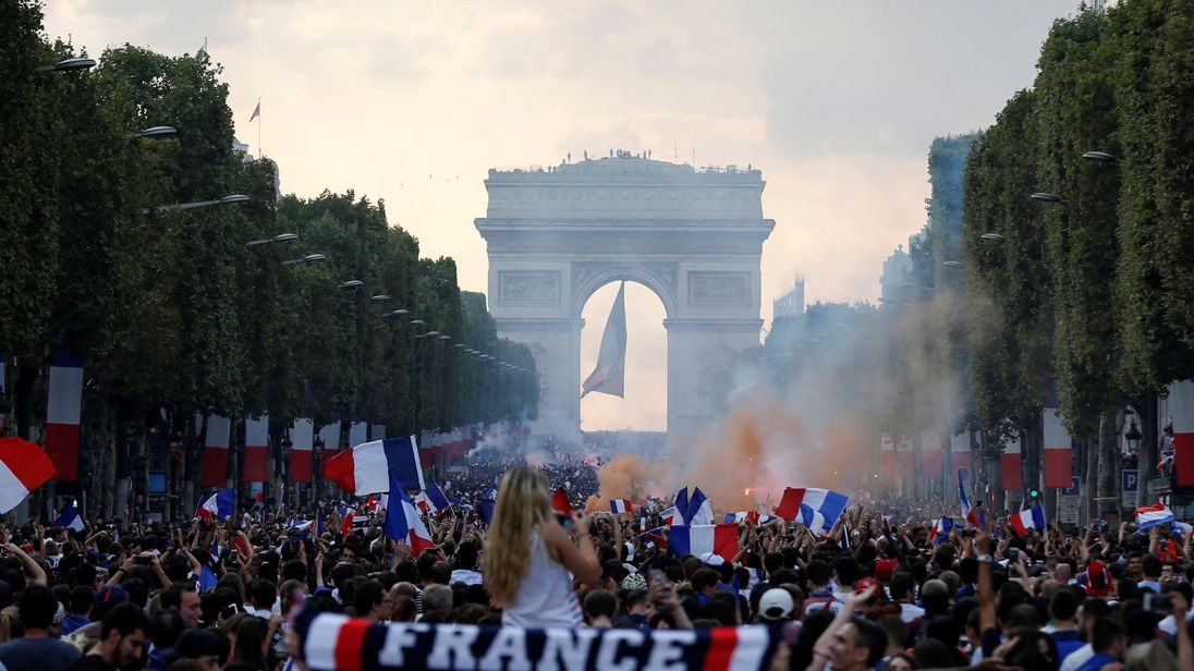 France celebrates after winning the World Cup