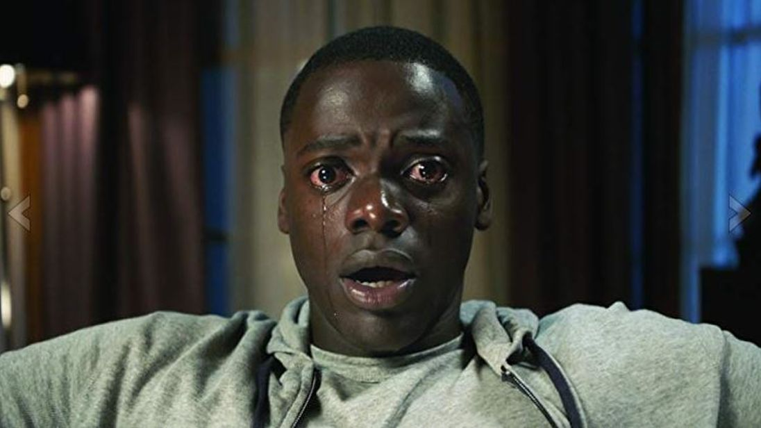 Still of Daniel Kaluuya as he descends into the Sunken Place in Get Out