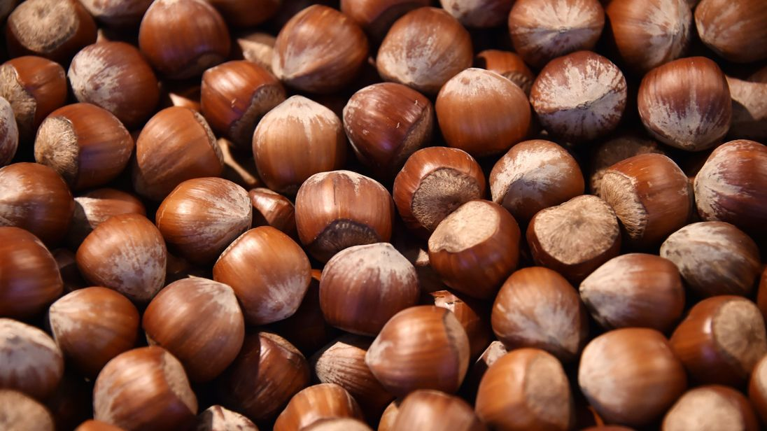 15 2015 shows hazelnuts on display at the Talensac market in central Nantes western France. /AFP