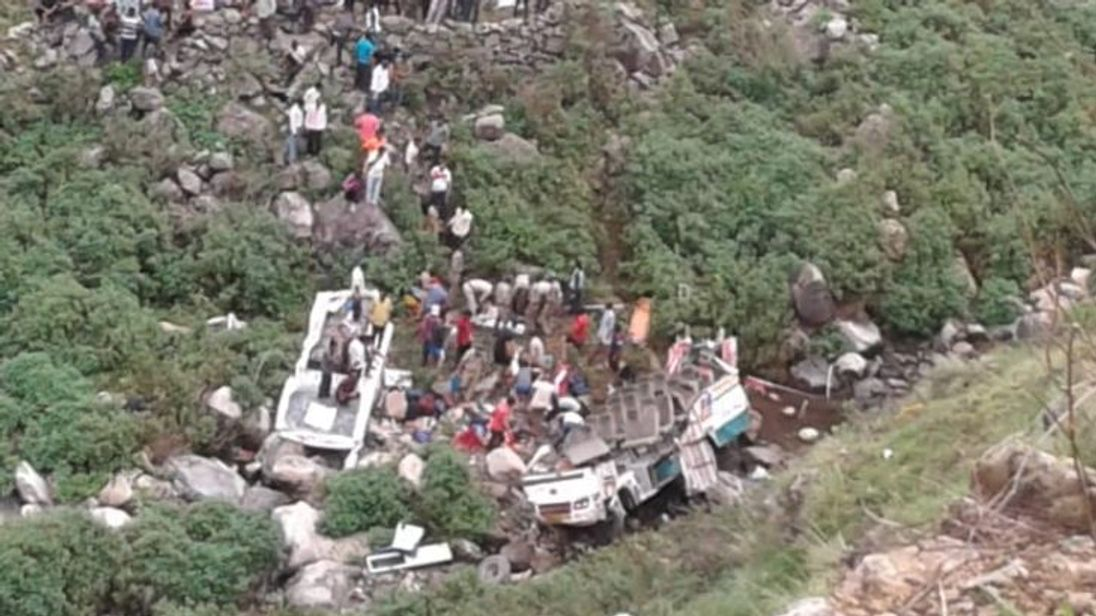 The bus crashed into a gorge in the Himalayas