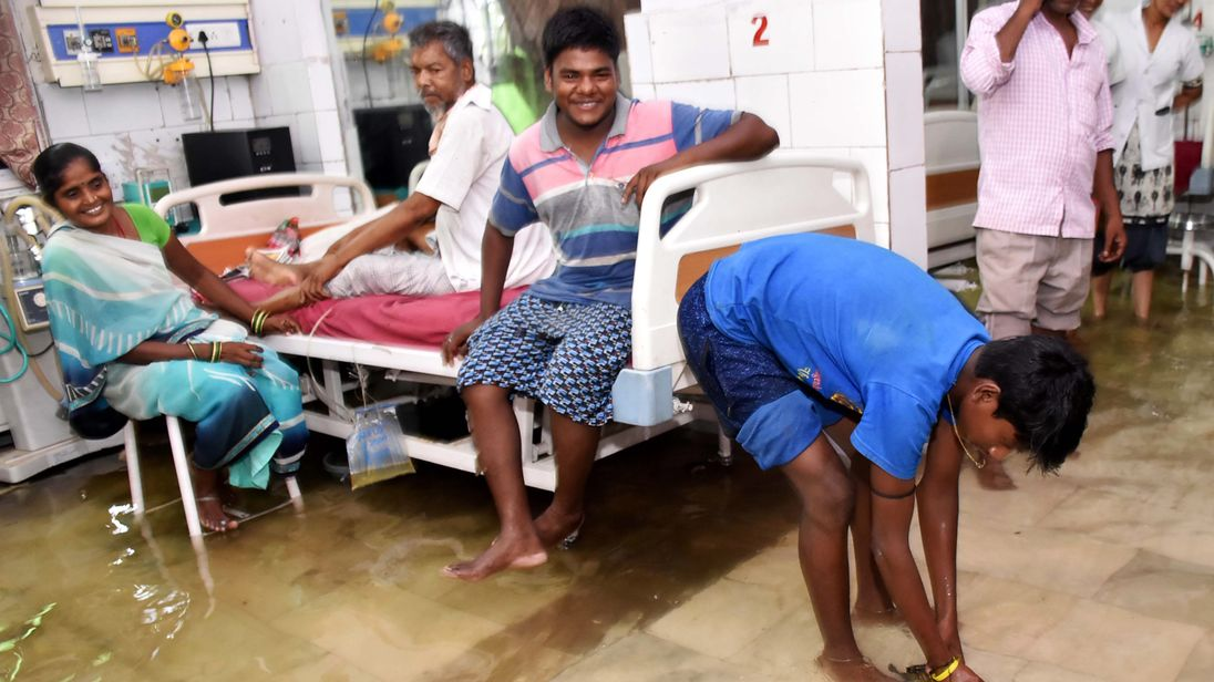 Fish were seen swimming on a flooded hospital ward