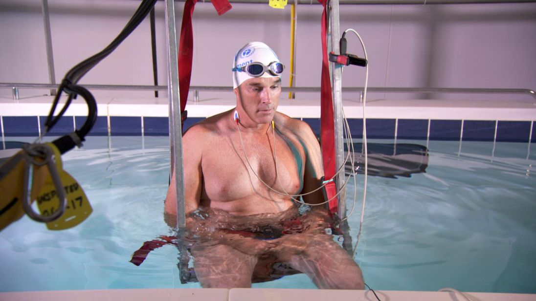 Lewis remained calm as he was lower into cold water