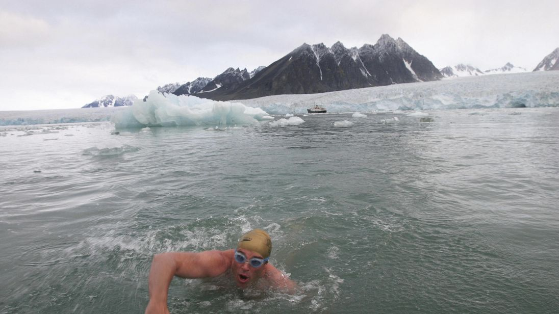 Lewis Pugh swimming in Arctic waters in 2005