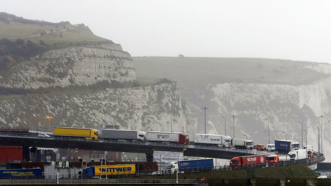 Business want to avoid long queues of lorries at ports such as Dover after Brexit. File pic