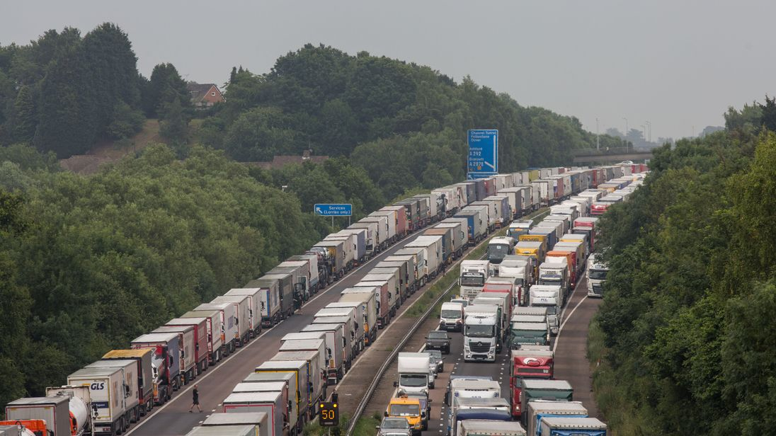 There are plans to convert four lanes of the M20 motorway into a 13-mile lorry park. File pic