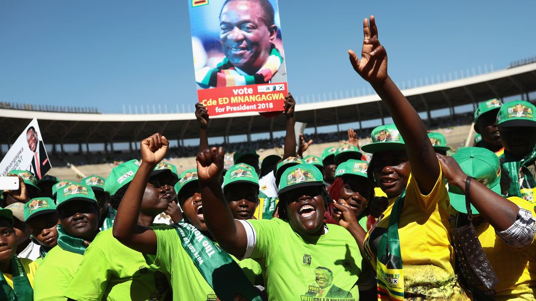 Mnangagwa's ruling ZANU-PF claims majority in Zimbabwe election