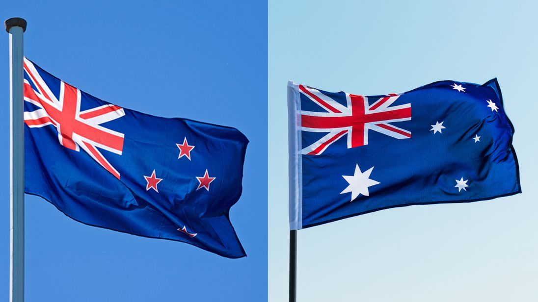 The New Zealand flag, left, was adopted in 1902, while the Australia flag was not officially recognised until 1954