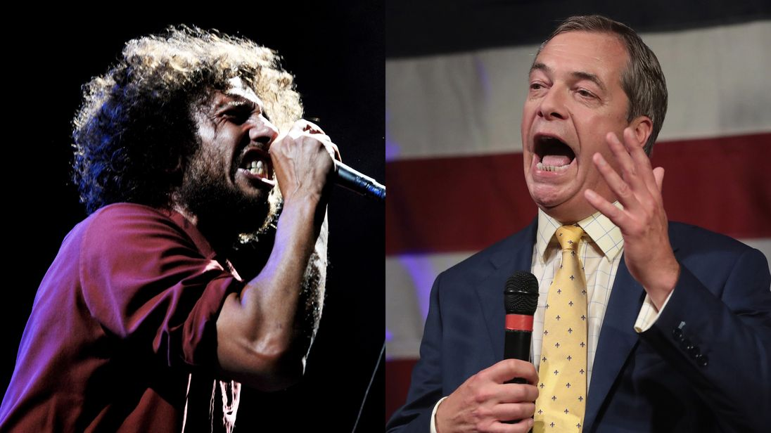 Rage Against The Machine frontman Zack de la Rocha wants Nigel Farage to drop the name of his podcast
