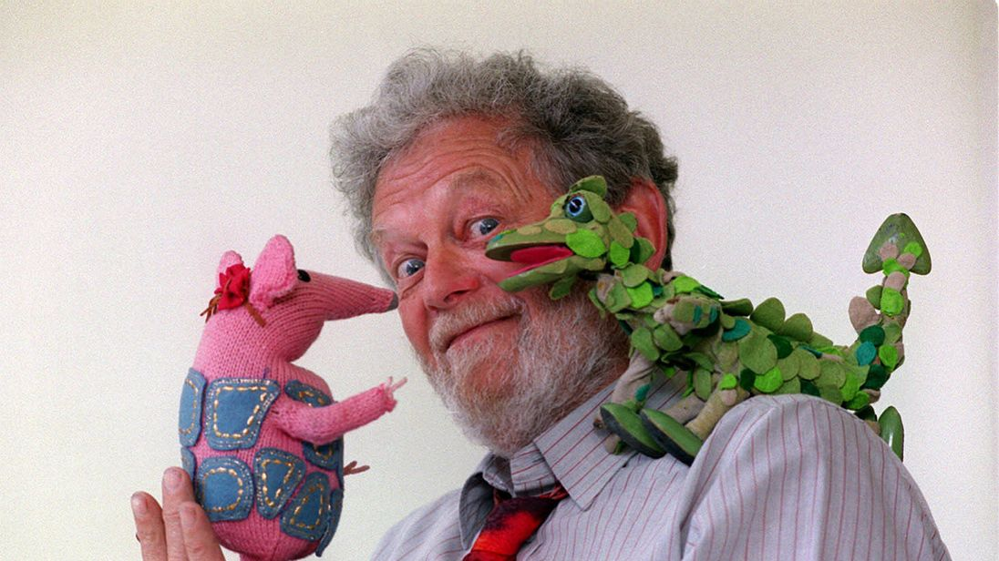 Firmin pictured with two of his creations - a Clanger and the Soup Dragon