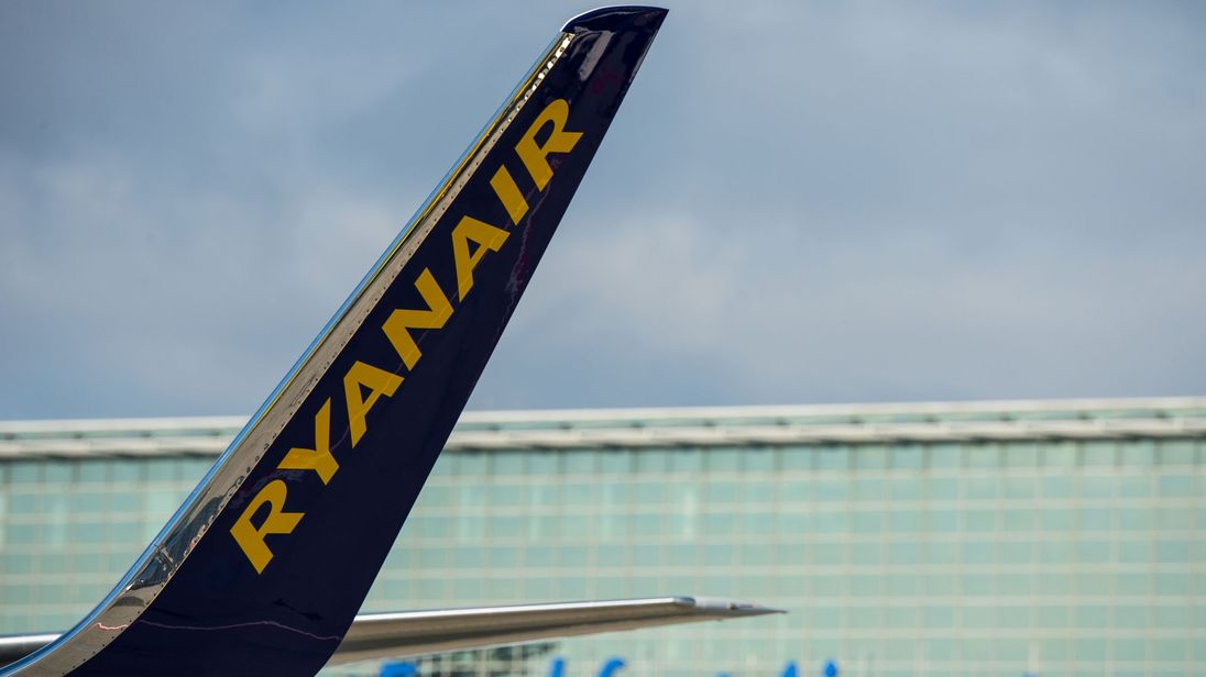 A plane of Irish low-cost airline Ryanair stands at the airport in Frankfurt am Main, western Germany, on November 2, 2016. Ryanair said it would base two aircraft at Frankfurt airport, Germany's busiest, serving sun-soaked tourist destinations in Portugal and Spain -- sparking outrage among German competitors. / AFP PHOTO / dpa / Andreas Arnold / Germany OUT (Photo credit should read ANDREAS ARNOLD/AFP/Getty Images)