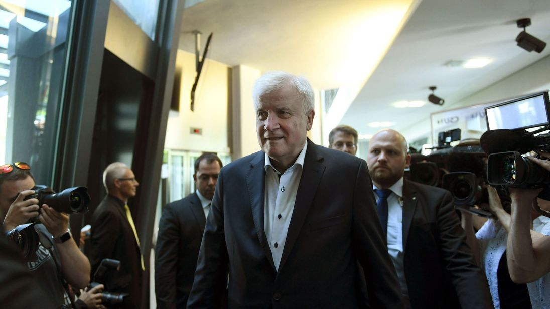 German Interior Minister and Bavarian Christian Social Union (CSU) politician Horst Seehofer arrives for a party leadership meeting of the Bavarian CSU party