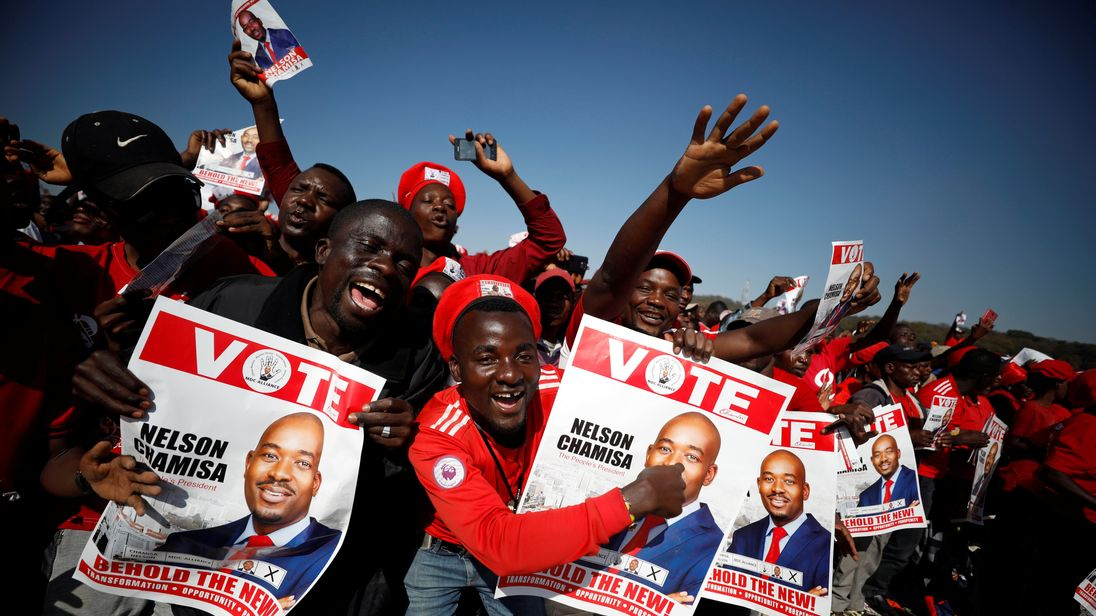 Supporters of Nelson Chamisa's opposition Movement for Democratic Change (MDC) party