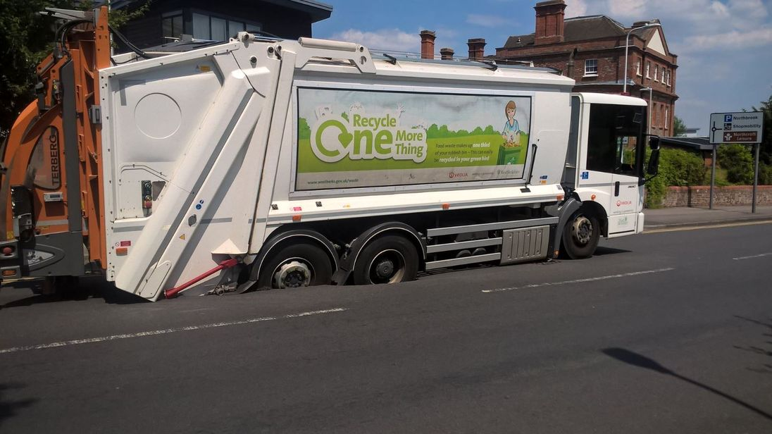 The lorry was pictured stuck in a road in Newbury on Thursday. Pic: Thames Valley Police