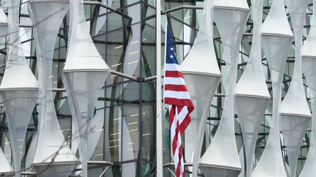 The American flag hangs at the new US embassy after being raised for the first time on January 12, 2018 in London, England