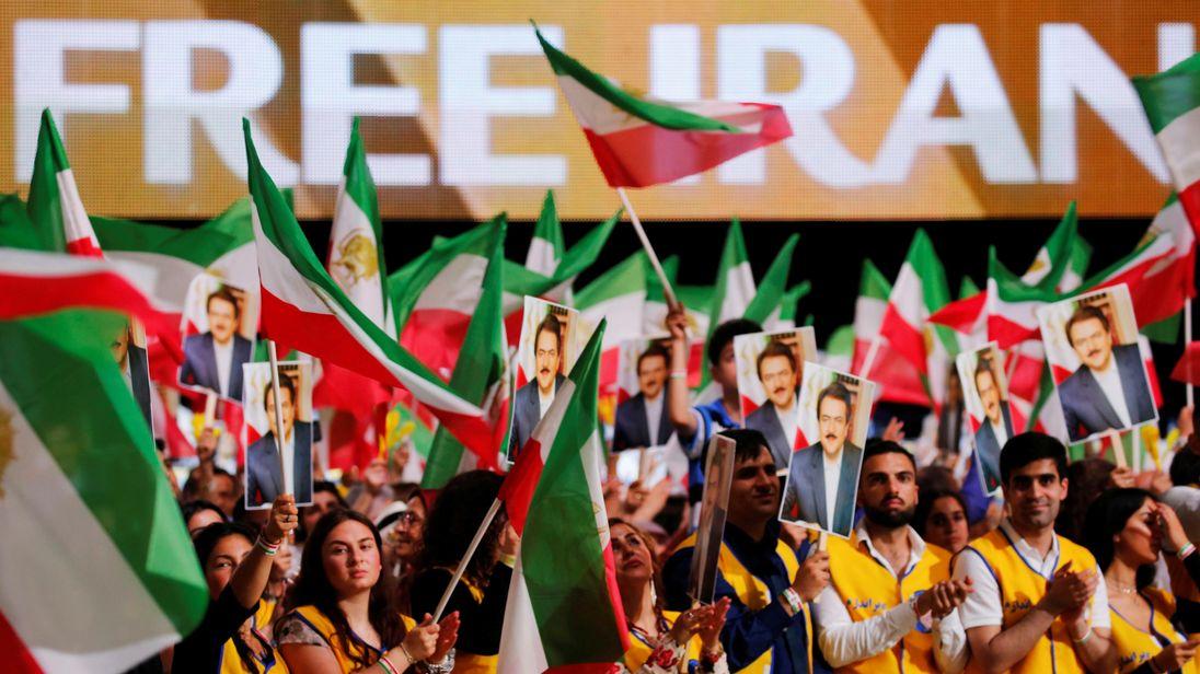 Supporters attend the anti-Iran regime rally in Villepinte, near Paris