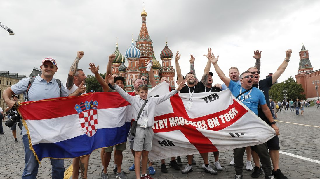 England and Croatia fans have been gathering in the centre of Moscow