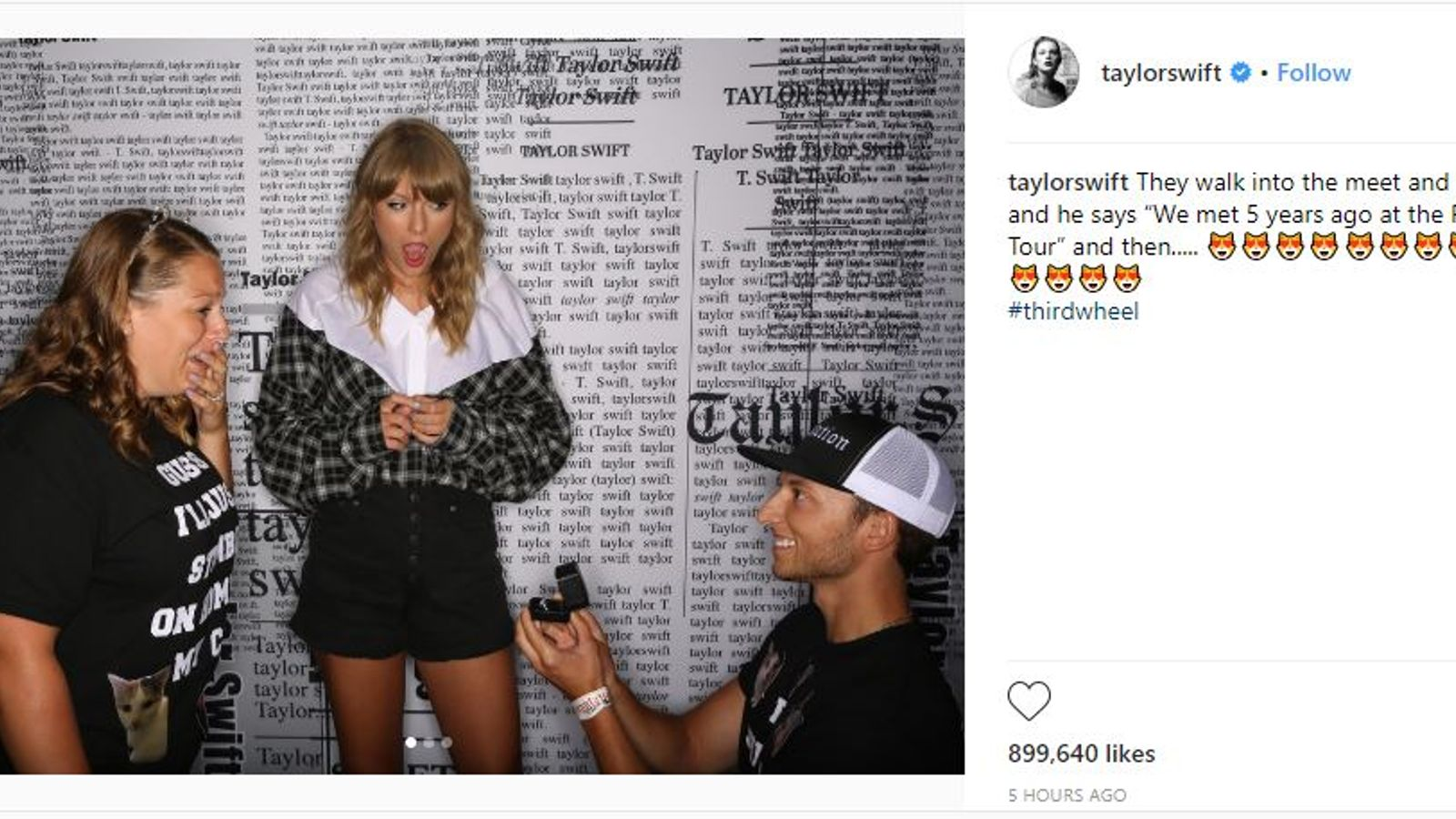 Taylor Swift Calls Herself A Third Wheel As Two Fans Get Engaged