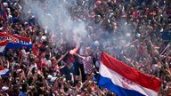 Fans stage a heroes' welcome in tribute to the Croatia football team