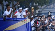 The players parade the World Cup
