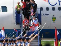 Best player of the FIFA World Cup 2018 in Russia, Croatian Luka Modric and other team members land in Zagreb International Airport