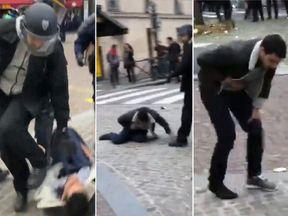 Alexandre Benalla during the Paris protests. Pic: Taha Bouhafs