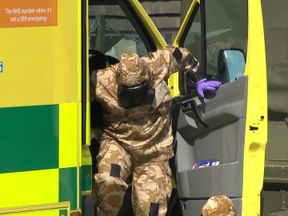 The ambulance used for Charlie Rowley and Dawn Sturgess is taken away by the army